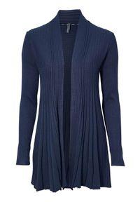 Freequent Sweter Claudisse lång granatowy female niebieski M (40). Kolor: niebieski. Materiał: prążkowany, dzianina