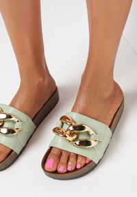 Born2be - Miętowe Klapki Nixishia. Nosek buta: okrągły. Kolor: miętowy. Materiał: guma. Styl: klasyczny
