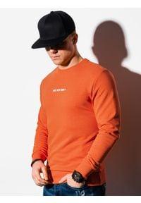 Ombre Clothing - Bluza męska bez kaptura z nadrukiem B1215 - pomarańczowa - XXL. Typ kołnierza: bez kaptura. Kolor: pomarańczowy. Materiał: bawełna, poliester. Wzór: nadruk