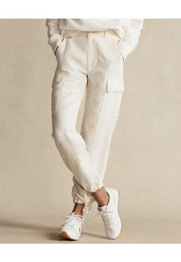 Ralph Lauren - RALPH LAUREN - Kremowe spodnie cargo. Kolor: beżowy. Materiał: tkanina
