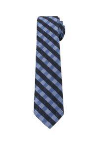 Alties - Granatowo-Niebieski Elegancki Krawat Męski -ALTIES- 6 cm, w Kratkę. Kolor: niebieski. Materiał: tkanina. Wzór: kratka. Styl: elegancki