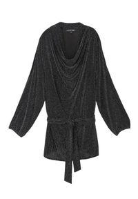 Czarna bluzka TOP SECRET na zimę, długa, z długim rękawem, w kolorowe wzory