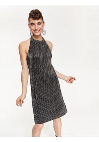 Srebrna sukienka TOP SECRET z dekoltem halter, elegancka, na imprezę