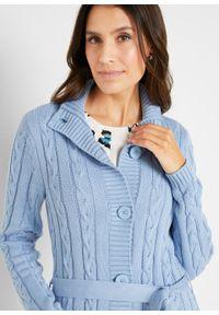 Długi sweter rozpinany bonprix perłowy niebieski. Kolor: niebieski. Długość: długie