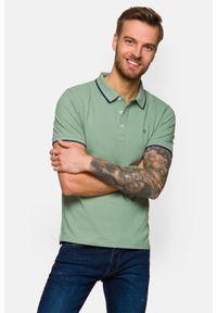 Lancerto - Koszulka Jasnozielona Polo Dominic. Typ kołnierza: polo. Kolor: zielony. Materiał: włókno, tkanina, materiał, bawełna. Długość rękawa: krótki rękaw. Wzór: ze splotem. Styl: klasyczny