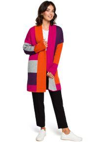 Pomarańczowy sweter oversize MOE w kolorowe wzory, długi