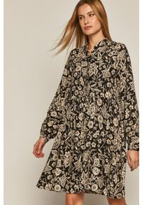 medicine - Medicine - Sukienka Black Art. Kolor: czarny. Materiał: tkanina. Długość rękawa: długi rękaw