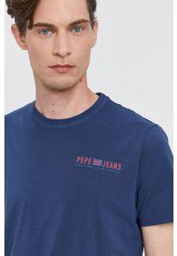 Pepe Jeans - T-shirt RAMON. Okazja: na co dzień. Kolor: niebieski. Wzór: nadruk. Styl: casual
