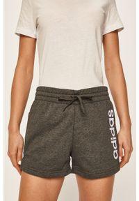 Szare szorty Adidas z nadrukiem, sportowe, na co dzień