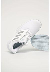 Białe buty sportowe adidas Performance na sznurówki, z cholewką