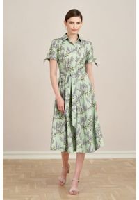 Marie Zélie - Sukienka Ariana Wisteria zielona. Kolor: zielony. Materiał: bawełna, wiskoza, skóra, materiał. Długość rękawa: krótki rękaw. Typ sukienki: szmizjerki, trapezowe