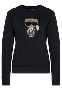Karl Lagerfeld - KARL LAGERFELD Bluza Ikonik 205W1802 Czarny Regular Fit. Typ kołnierza: dekolt w karo. Kolor: czarny