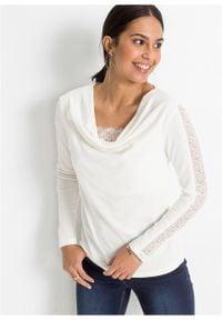 Sweter z koronką bonprix biel wełny. Kolor: biały. Materiał: wełna, koronka. Wzór: koronka