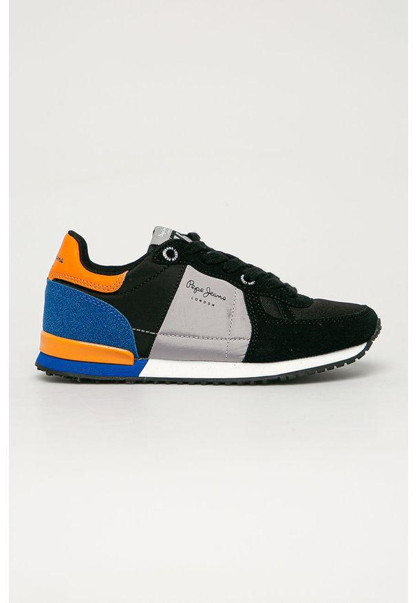 Czarne buty sportowe Pepe Jeans na sznurówki, z cholewką