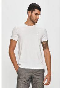 Biały t-shirt TOMMY HILFIGER z okrągłym kołnierzem, casualowy, z nadrukiem