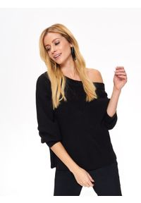 Czarny sweter TOP SECRET z dekoltem w serek, na zimę, długi