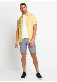 Koszula z lnem, krótki rękaw bonprix jasnożółty z nadrukiem. Kolor: żółty. Materiał: len. Długość rękawa: krótki rękaw. Długość: krótkie. Wzór: nadruk. Styl: wakacyjny #4
