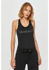 Czarny top Calvin Klein Performance z nadrukiem, casualowy, z okrągłym kołnierzem, na co dzień