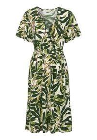 Freequent Wzorzysta sukienka z dżerseju Biba beżowy zielony female beżowy/zielony S (38). Kolor: zielony, wielokolorowy, beżowy. Materiał: jersey. Długość rękawa: krótki rękaw. Typ sukienki: kopertowe