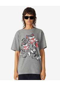 Szary t-shirt Kenzo z nadrukiem, klasyczny