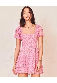 LOVE SHACK FANCY - Różowa sukienka mini Kimbra. Typ kołnierza: dekolt kwadratowy. Kolor: fioletowy, różowy, wielokolorowy. Materiał: jedwab. Wzór: kwiaty, aplikacja. Styl: vintage. Długość: mini