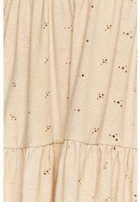 Vila - Sukienka. Kolor: beżowy. Materiał: tkanina. Długość rękawa: długi rękaw. Wzór: gładki. Typ sukienki: rozkloszowane
