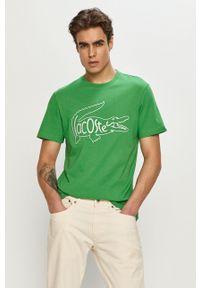Lacoste - T-shirt. Okazja: na co dzień. Kolor: zielony. Wzór: nadruk. Styl: casual