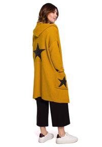 Pomarańczowy sweter BE Knit sportowy, długi, z kapturem