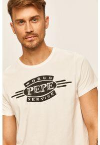 Pepe Jeans - T-shirt Devon. Okazja: na co dzień. Kolor: biały. Materiał: dzianina. Wzór: nadruk. Styl: casual