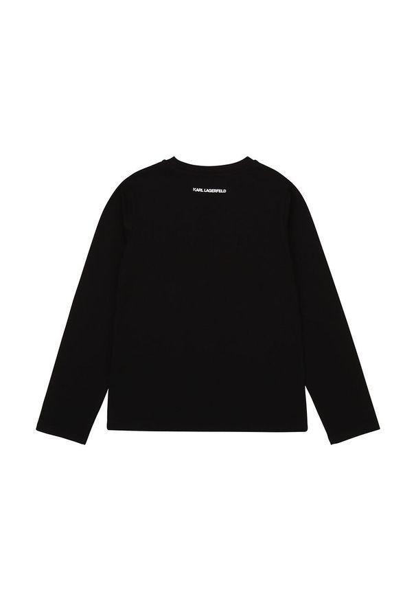 Czarna bluzka z długim rękawem Karl Lagerfeld z okrągłym kołnierzem, długa, na co dzień, z aplikacjami