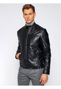 Czarna kurtka skórzana Trussardi Jeans