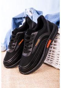 Casu - czarne buty sportowe sznurowane casu 20y04/o. Kolor: czarny