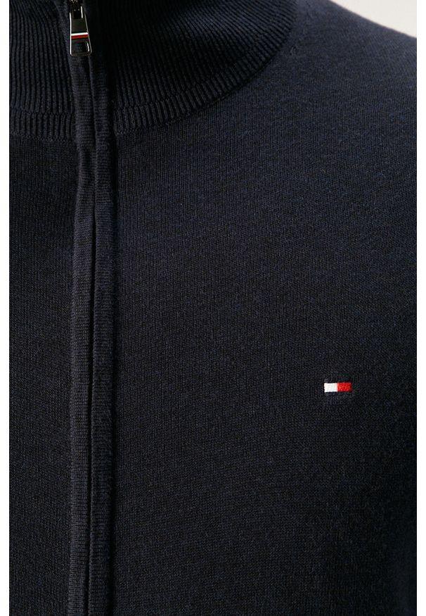 Niebieski sweter rozpinany TOMMY HILFIGER casualowy, na co dzień