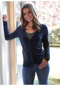 Sweter rozpinany z gładkiej dzianiny z plisą guzikową bonprix ciemnoniebieski. Kolor: niebieski. Materiał: dzianina. Wzór: gładki