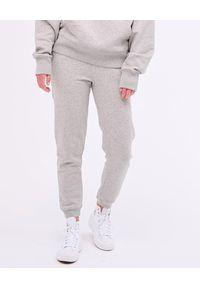 PAPROCKI&BRZOZOWSKI - Szare spodnie dresowe z haftowanym logo. Kolor: szary. Materiał: dresówka. Długość: długie. Wzór: haft