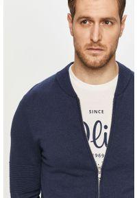 Niebieski sweter rozpinany s.Oliver gładki, casualowy, na co dzień
