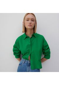 Reserved - Bawełniana koszula - Zielony. Kolor: zielony. Materiał: bawełna