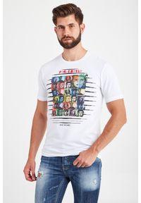 T-shirt Frankie Morello w kolorowe wzory, elegancki