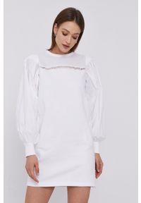 Karl Lagerfeld - Sukienka. Okazja: na co dzień. Kolor: biały. Materiał: tkanina, dzianina. Długość rękawa: długi rękaw. Typ sukienki: proste. Styl: casual