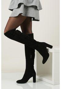 Nessi - Czarne kozaki muszkieterki skórzane welurowe za kolano nessi 732/n. Wysokość cholewki: za kolano. Kolor: czarny. Materiał: skóra, welur