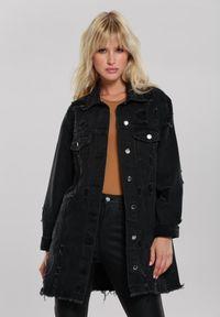 Renee - Czarna Kurtka Flossie. Kolor: czarny. Materiał: jeans. Długość rękawa: długi rękaw. Długość: długie. Wzór: aplikacja