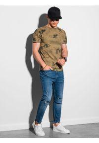 Ombre Clothing - T-shirt męski bawełniany S1372 - brązowy - XXL. Kolor: brązowy. Materiał: bawełna. Sezon: lato