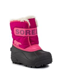 sorel - Śniegowce SOREL - Childrens Snow Commander NC1960 Tropic Pink/Deep Blush 652. Kolor: różowy. Materiał: skóra, skóra ekologiczna, guma, materiał. Szerokość cholewki: normalna. Sezon: zima