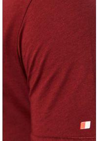 Brązowy t-shirt John Frank z okrągłym kołnierzem, na co dzień, casualowy