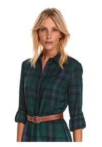 TOP SECRET - Koszulowa tunika w kratę. Kolor: zielony. Materiał: tkanina. Długość rękawa: długi rękaw. Długość: długie. Wzór: kratka. Sezon: jesień