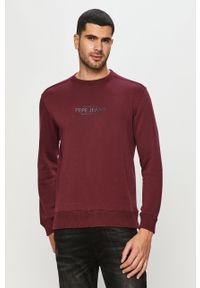 Brązowa bluza nierozpinana Pepe Jeans na co dzień, casualowa, bez kaptura, z nadrukiem