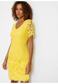 Sukienka koronkowa bonprix kremowy żółty. Kolor: żółty. Materiał: koronka. Wzór: koronka