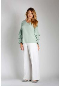 Zielona bluzka z długim rękawem Nommo z falbankami, plus size, wizytowa