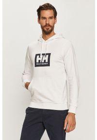 Biała bluza Helly Hansen z nadrukiem, z kapturem, casualowa, na co dzień