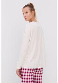 United Colors of Benetton - Longsleeve piżamowy. Kolor: beżowy. Materiał: bawełna. Długość: długie. Wzór: nadruk